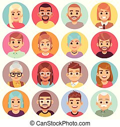 Cartoon avatars. People of different sexes, ages and races. Face avatars of multicultural characters portraits. Human crowd heads in round isolated vector nationalities set