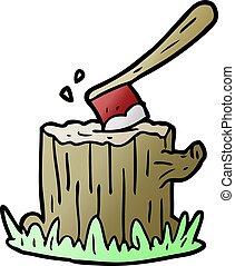 cartoon axe stuck in tree stump