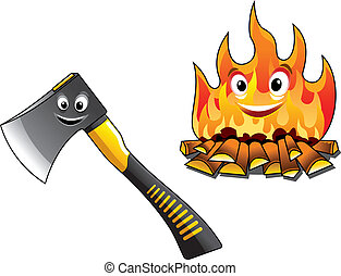 Cartoon axe or chopper for chopping the firewood and a separate burning fire with happy smiling faces for travel and tourism design