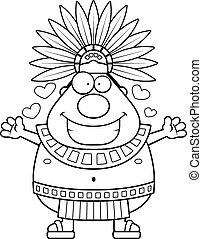 Cartoon Aztec King Hug