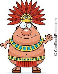 Cartoon Aztec King Waving