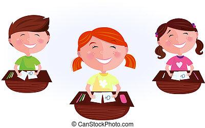 cartoon, børn, ind, klasseværelse