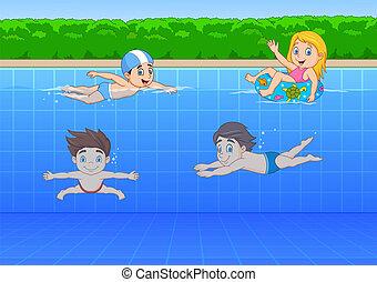 cartoon, børn, svømning, ind, den, pulje