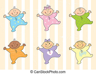 Cartoon babies - Cartoon multi racial babies %u2013 vector...