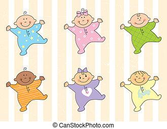 Cartoon babies - Cartoon multi racial babies %u2013 vector...