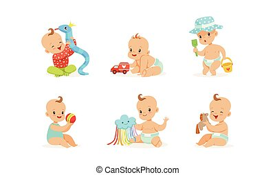 Cartoon babies with toys. Vector illustration on a white background.