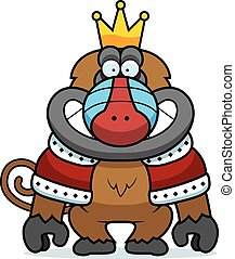 A cartoon illustration of a baboon king with a crown and robes.