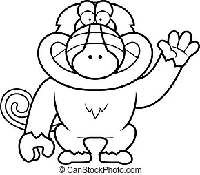 Cartoon Baboon Waving