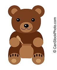 Cartoon baby bear with a spoon isolated on a white background