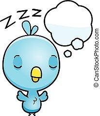 Cartoon Baby Blue Bird Dreaming - A cartoon illustration of...