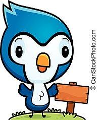 Cartoon Baby Blue Jay Wood Sign - A cartoon illustration of...