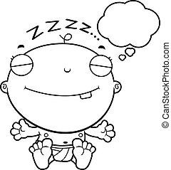 Cartoon Baby Boy Dreaming