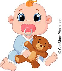 Cartoon Baby Boy With Pacifiers and