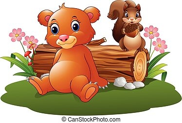 Cartoon baby brown bear, squirrel