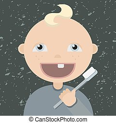 Cartoon baby brushing teeth