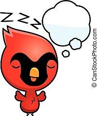 Cartoon Baby Cardinal Dreaming - A cartoon illustration of a...