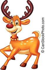 Cartoon baby deer posing - Vector illustration of Cartoon...