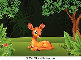 Cartoon baby deer sitting in the jungle