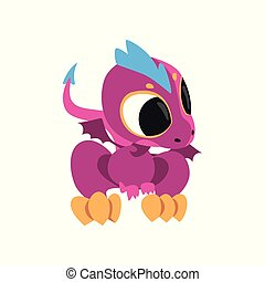 Cartoon baby dragon with big eyes, little wings and long tail. Fantastic creature character of children's fairy tale. Flat vector design for mobile game, sticker or book