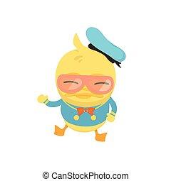 Cartoon baby duck on white background.