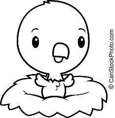 Cartoon Baby Eagle Nest - A cartoon illustration of a baby...