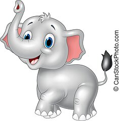 Vector illustration of Cartoon baby elephant look to the side with trunk up