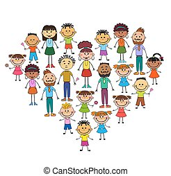 Cartoon baby faces in heart shaped frame vector face, love, smile, illustration, childhood, kid, global, associations, unions, internationally, crowd, many, society,