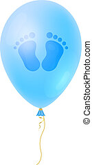 Cartoon Baby footsteps, boys footprint with blue realistic Balloon. It's a Boy Baby Shower card