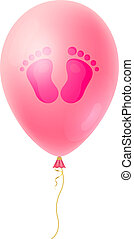 Cartoon Baby footsteps, girls footprint with pink realistic Balloon. It's a Girl Baby Shower card