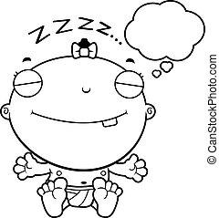 Cartoon Baby Girl Dreaming