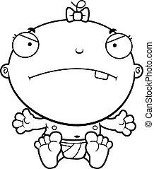 Cartoon Baby Girl Mad