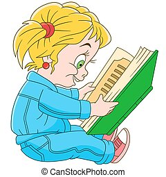 cartoon baby girl reading