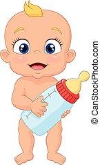 Cartoon baby holding bottle