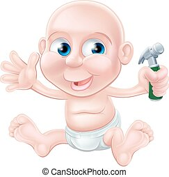 Cartoon baby holding toy hammer