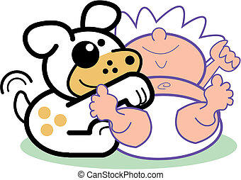 Cartoon Baby Infant & Dog Clip Art