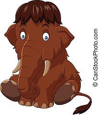 Cartoon baby mammoth sitting - Vector illustration of...