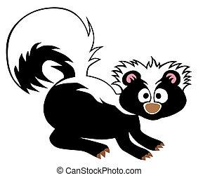 Cartoon Baby Skunk - A cartoon baby skunk has been startled...