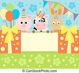 Cartoon background card with animals