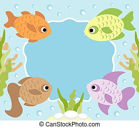 Cartoon background card with fish