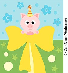 Cartoon background card with pig