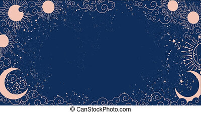 Cartoon background for astrology, tarot, magic and esotericism. Smooth 4K video rendering. Animation of a crescent moon with a face, stars, celestial background.