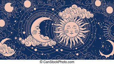 Cartoon background for astrology, tarot, magic and esotericism. Smooth 4K video rendering. Animation of a crescent moon with a face, stars, celestial background