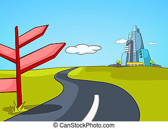 Cartoon background of road leading to city.