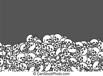 Cartoon background of skulls