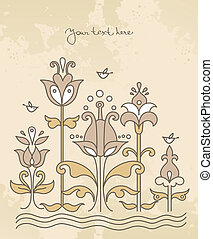 Cartoon background with flowers and bird