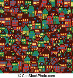 Cartoon background with houses