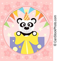 Cartoon background with panda