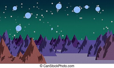 Cartoon background with planets and mountains in space, abstract backdrop