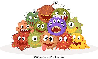 Cartoon bacteria colony - Vector illustration of Cartoon...