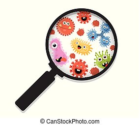 Cartoon bacteria under a magnifying glass